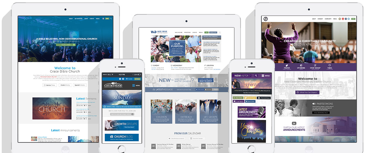church website designs on desktop and mobile platforms