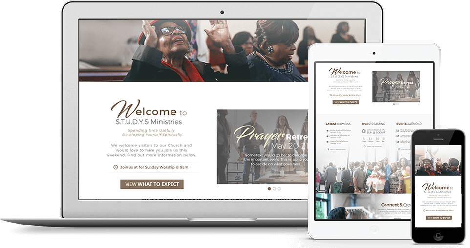 sample church websites mobile